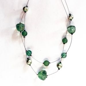 3/$25! Double strand green bead necklace